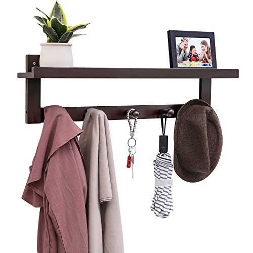 Living Room Metal Coat Rack - SONGMICS Bamboo Coat Hooks Shelf, Wall Mounted Coat Rack with 5 Wood Hooks, Hanging Entryway Shelf, Ideal for Living Room Bedroom Bathroom and Kitchen Brown URCR105BR