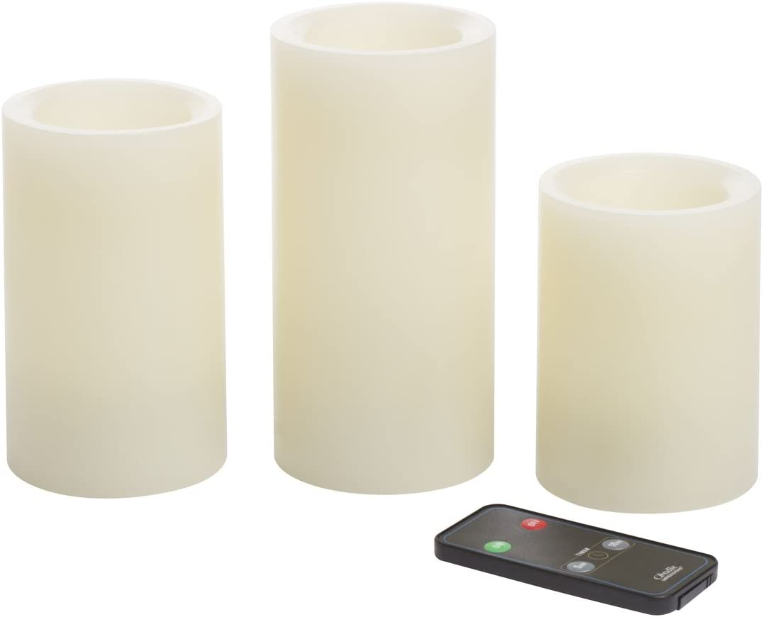 Sterno Home, Cream, Impressions 4, 5, 6-Inch Remote Control Flameless Candles with Vanilla Fragrance, 3-Pack