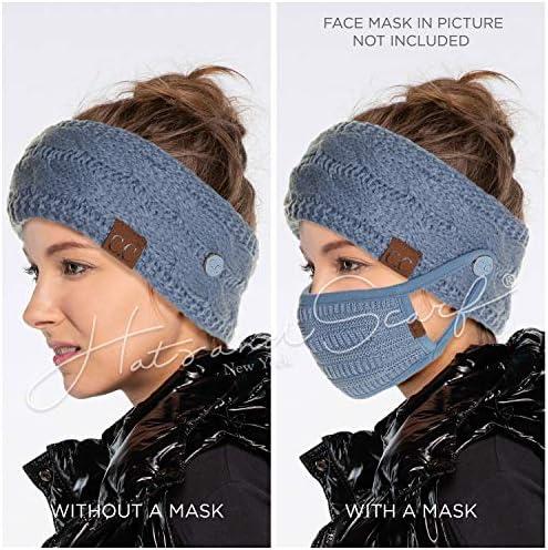 HW-33 C.C Winter Fuzzy Fleece Lined Thick Knitted Headband Headwrap Earwarmer HW-20