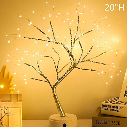 FuChsun Bonsai Tree Light 108 LED Warm White Shimmer Silver Branches Battery and USB Operated (Warm White Glow)