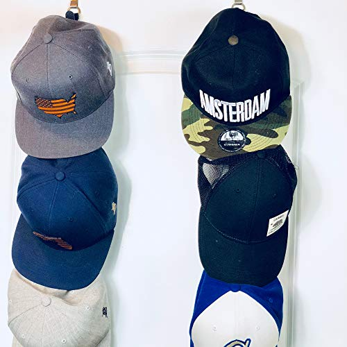 Cap Rack 2 Pack - Holds up to 16 Caps for Baseball Hats, Ball Caps - Best Over Door Closet Organizer for Men, Boy or Women Hat Collections - Display Racks With Clips, Perfect Holder and Storage