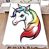 Bed Skirt Dust Ruffle Bed Wrap 3D Print,Rainbow Colors on its Mane Blue Eyes Animal Fun,Fashion Personality Customization adds Color to Your Bedroom. by 90.5''x96.5''