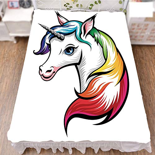 Bed Skirt Dust Ruffle Bed Wrap 3D Print,Rainbow Colors on its Mane Blue Eyes Animal Fun,Fashion Personality Customization adds Color to Your Bedroom. by 90.5''x96.5'' by iPrint