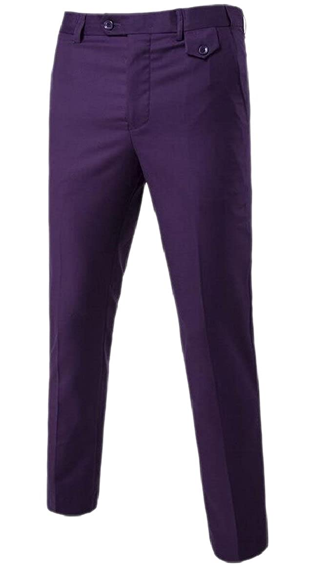 Smeiling Casual Dress Pants Mens Classic Fit Flat Front Trousers