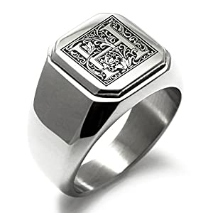 Stainless Steel Letter H Alphabet Initial Floral Monogram Engraved Square Flat Top Biker Style Polished Ring 11
