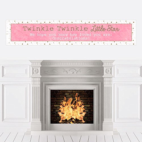 Big Dot of Happiness Pink Twinkle Twinkle Little Star - Baby Shower Decorations Party Banner