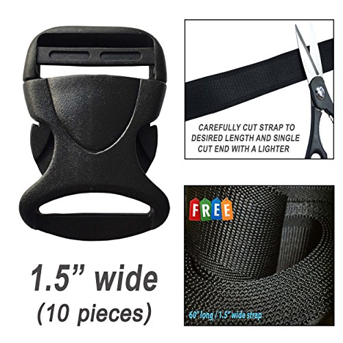 Plastic Buckles 1.5 Inch (10 pcs) - Flat Side Quick Release for Webbing, Fasteners Strap, Collars, Belt, Harness, Backpack, Nylon Webbing. FREE with 1 Strap 60