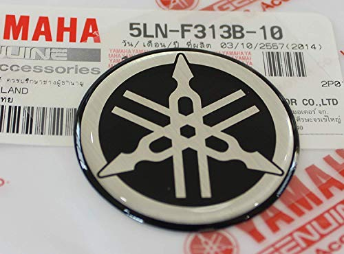 (Yamaha 5LN-F313B-10 - Genuine 40MM Diameter Yamaha Tuning Fork Decal Sticker Emblem Logo Black / Silver Raised Domed Gel Resin Self Adhesive Motorcycle / Jet Ski / ATV / Snowmobile)