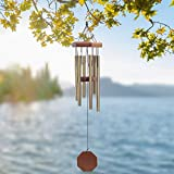 Wind Chimes Outdoor, Memorial Wind Chimes with 6 Metal Tubes Amazing Grace Sound, Metal Wind Chime for Garden Balcony Patio and Home Decor, Perfect for Housewarming(Bronze 25'')