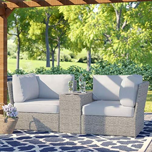 Living Source International Chelsea Collection Patio Sofa Set Outdoor Seating Aluminium Frame Furniture for Garden,Backyard,Pool with Cushioned Seat [CM-4201] (3 Piece Loveseat Sofa)