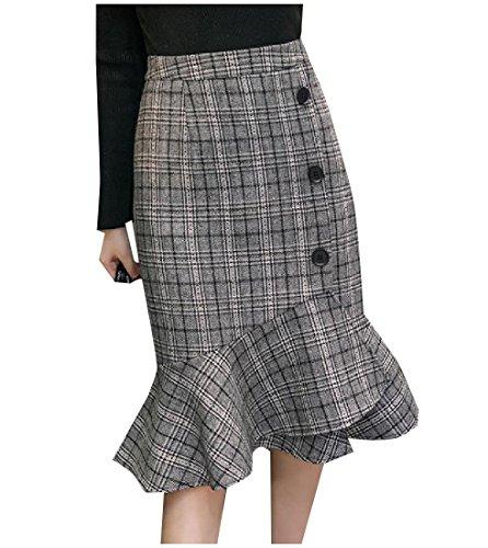 Panelled Pencil Skirt - SportsX Women Elegant Panelled Over Waist Woolen Bodycon Pencil Skirt Grey XS