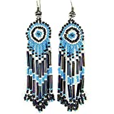 La vivia TURQUOISE BLACK BUGLE SEED BEADS BEADED EARRINGS LONG - E-15-SB-34