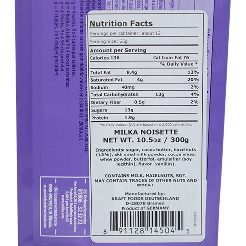 Milka Noisette Milk Chocolate & Hazelnut Cream Bar 300g