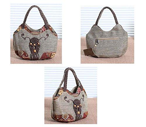 Female Vintage Temptation Bag Black Style Ethnic C Canvas Handbag Woven Bag 58Uxw