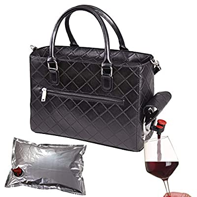 Primeware Insulated Drink Purse w/ 3L Bladder Bag   Thermal Hot and Cold Storage   Portable Drinking Dispenser for Wine, Cocktails, Beer, Alcohol   PU Leather Finish