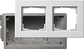 Gira 2882201 - Caja para Enchufe y Marco embellecedor (2 interruptores, E22), Color Blanco: Amazon.es: Bricolaje y herramientas