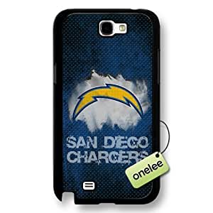NFL San Diego Chargers Team Logo Samsung Galaxy Note 2 Black Hard Plastic Case Cover - Black