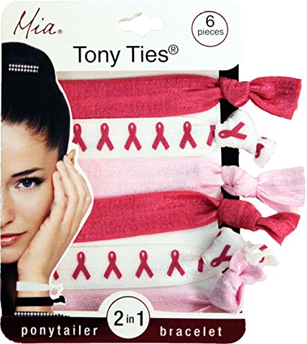 Mia Tony Ties-2 in 1 Hair Ties/Bracelets! 2 Hot Pink, 2 White With Breast Cancer Ribbons Print, 2 Light Pink (6 pieces per card) (Breast Cancer Mosaic)