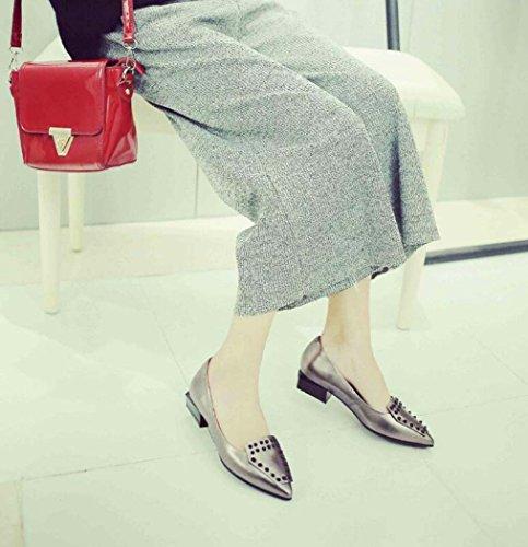 39 Color 35 Zapatos Zapatos de Remaches Bomba Gris Las 34 Mujeres Gris Tamaño Punta Rojo de Talla Solo qSgxcqBO6w
