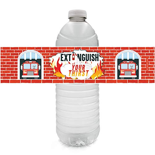 Firefighter Birthday Party Water Bottle Labels, 24 Stickers