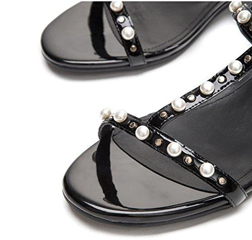 con basso tacco estivi alti casual donna a Pantofole moda alla da Sandali basso Sandali 36 Nero Sandali tacco DHG piatti Tacchi ZwOAP