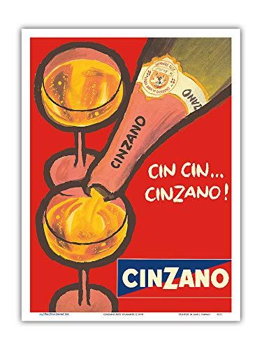 Pacifica Island Art - CIN CIN Cinzano - Asti Spumante - Italian Sparkling Wine - Vintage Advertising Poster c.1970 - Master Art Print - 9in x 12in