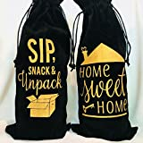 Home Sweet Home Housewarming Gift Velvet Wine Bags, Realtor Gifts, Moving Gifts, New Homeowner Gifts, First time buyer gifts, Client Gifts, Open House Decor