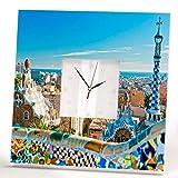 Barcelona Catalonia Park Güell Gaudí View Wall Clock Framed Mirror Spain Fan Art Home Decor Gift