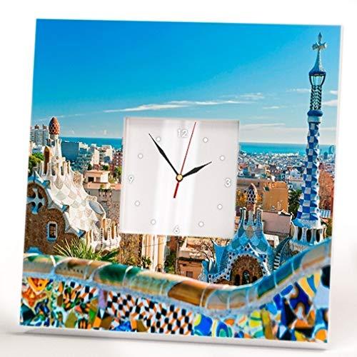 Barcelona Catalonia Park Güell Gaudí View Wall Clock Framed Mirror Spain Fan Art Home Decor Gift by WonderCloud