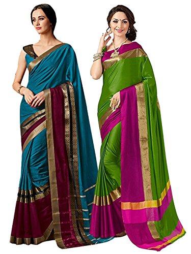ELINA FASHION Pack of Two Sarees for Indian Women Cotton Art Silk Printed Weaving Border Saree || Sari Combo (Multi 14)
