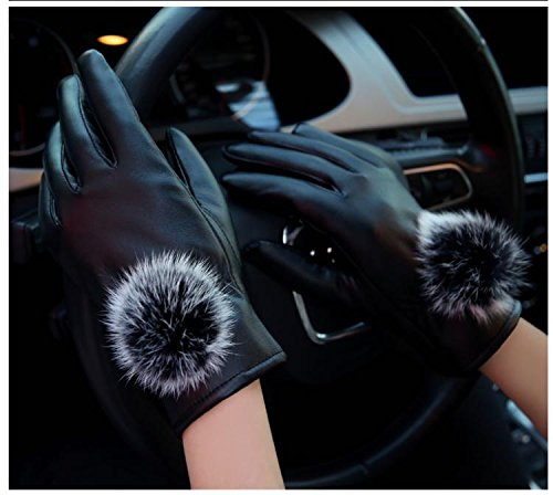 Generic glove gloves _in_spring autumn , cycling_really_ cute _rabbit hair bulb_plus_velvet_Warm_Korean_style slim_touch_screen_ leather glove gloves women girls