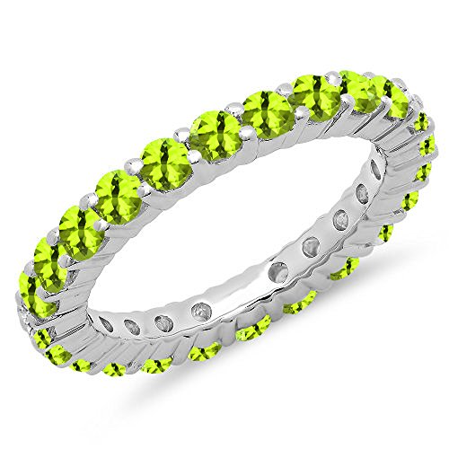 1.00 Carat (ctw) 14K White Gold Round Peridot Ladies Eternity Wedding Stackable Band (Size 5.5) by DazzlingRock Collection