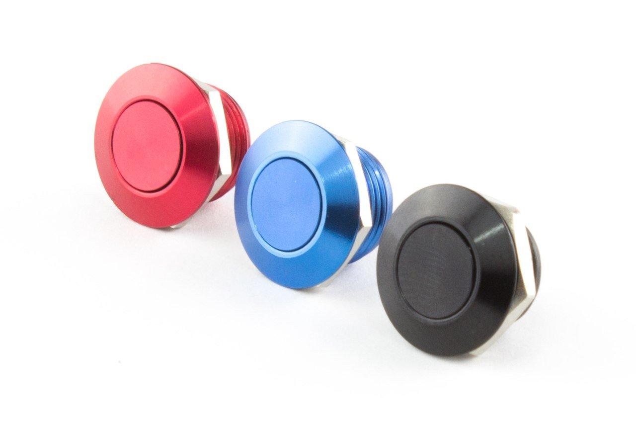 Dripp3D Mini Drucktaster, Ø 12mm, Länge 12mm, Farben: schwarz, rot, blau