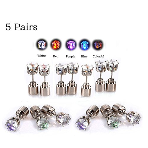 LED Earrings, 4 Pair Glowing Light Up Earrings Bright Stylish Fashion Ear Pendant Stud Stainless for Party Men Women Halloween Thanksgiving