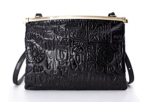La Poet Women's Vintage Embossed Calfskin Leather Clip Closure Cross Body Frame Handbag - Vintage Frame Bag