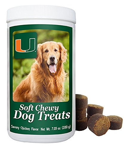 NCAA Miami Hurricanes Soft Chewy Dog Treats - Chicken Flavored Snack - Small Medium or Large Pets - Training Reward - 7oz or Approx 100 Chews - Low Calories 4 per ()
