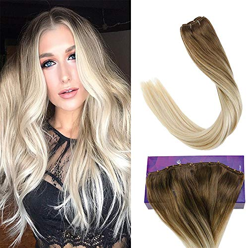 LaaVoo 16 inch Real Remy Human Hair Extensions Micro Bead Weft Easy Weft Hair Extensions Lovely Ombre Hair Dye Light Brown to Light Blonde Thick Hair 12