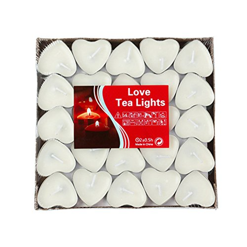 - YMOON 50 Pack Heart Shaped Unscented Tea Lights Candles - Smokeless Tealight Candles - Decorations for Wedding, Party, Votives, Oil Burners and Christma (White)
