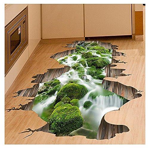 3d floor amazon kemilove 3d stream floor wall sticker removable mural decals vinyl art living room decorstream tyukafo