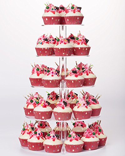 YestBuy 5 Tier Round Wedding Party Acrylic Cake Cupcake Tree Tower Maypole Display Stand 1 pc/Pack ()