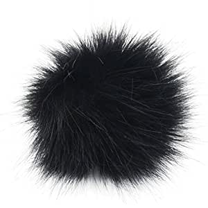 DIY 12pcs Faux Fox Fur Fluffy Pompom Ball Mix Colors for Hats Shoes Scarves Bag Charms Accessories (Black)