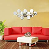 living room decoration ideas KISSBUTY Mirror Wall Stickers, 12 Pcs 10cm Hexagon Mirror Wall Decals Large Crystal Acrylic Removable Mirror Wall Stickers Wall Decoration Murals for Home Living Room Bedroom Decor