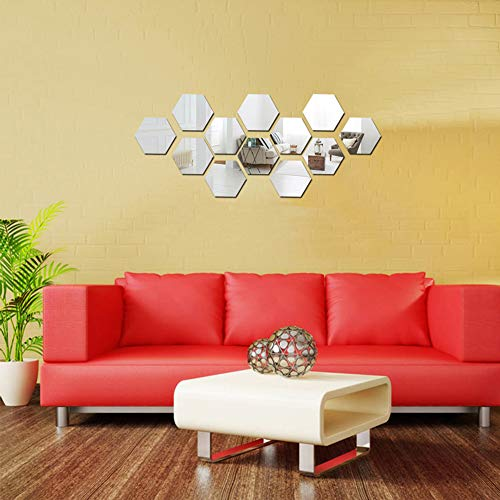 KISSBUTY Mirror Wall Stickers, 12 Pcs 10cm Hexagon Mirror Wall Decals Large Crystal Acrylic Removable Mirror Wall Stickers Wall Decoration Murals for Home Living Room Bedroom Decor