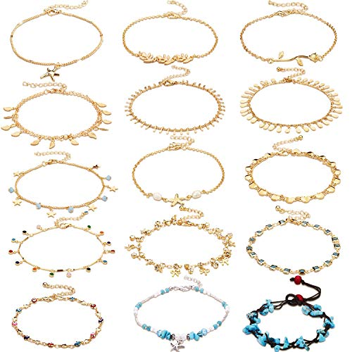 Hestya 15 Pieces Ankle Chains Bracelets Adjustable Beach Anklet Foot Jewelry Set Anklets for Women Girls Barefoot (Multicolor 2) ()