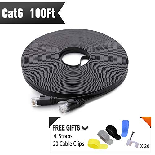 Cat 6 Ethernet Cable 100 ft (at a Cat5e Price but Higher Bandwidth) Flat Internet Network Cable - Cat6 Ethernet Patch Cable Short - Black Computer LAN Cable + Free Cable Clips and Straps (Patch Feet Ethernet Cable 100)