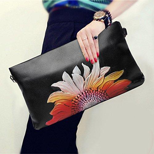 Womens Printed Vintage Clutch Bag Große Kapazität Schulter Messenger Bag Envelope Bag Chain Bag E