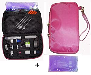 Diabetic Travel Organizer Cooler Bag-for Insulin,Supply Kits,Cosmetic,W/ice Pack Included -Pink
