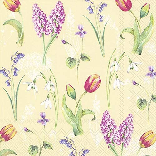 Luncheon Size 33cm x 33cm IHR 3-Ply Printed Paper Napkins Spring Breeze Cream Pack of 20