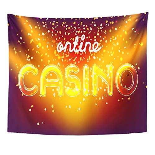 Semtomn Tapestry Action Jackpot Online Casino Win Lettering Live Stage Home Decor Wall Hanging for Living Room Bedroom Dorm 50x60 Inches ()