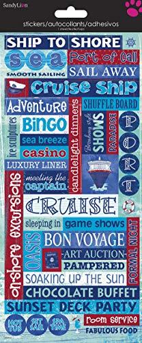 (Sandylion Cruise Words Paper with Glitter Sticker, 5.5-Inch by 12-Inch)
